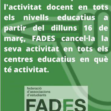 Suspensió d'activitat als centres educatius pel COVID-19
