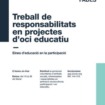 Nou curs: Treball de responsabilitats en projectes d'oci educatiu. Apunta't!